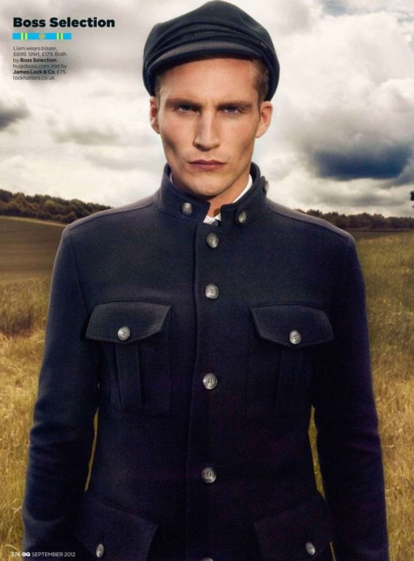 Liam Bradder wearing Boss Selection in British GQ